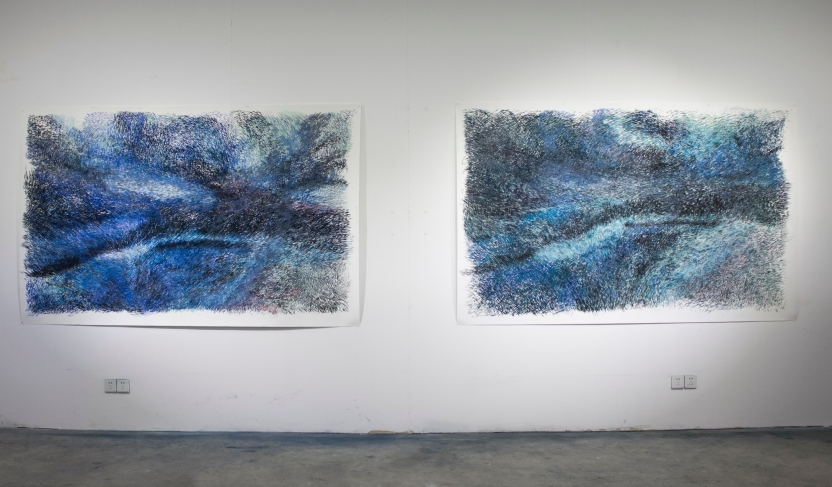 From the series of Shenzhen, 2018. charcoal and soft pastel on paper. 150 x 240 cm each